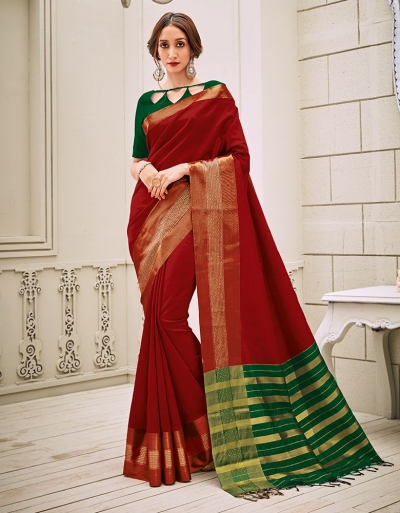 Aamilah Currant Red Festive wear cotton saree
