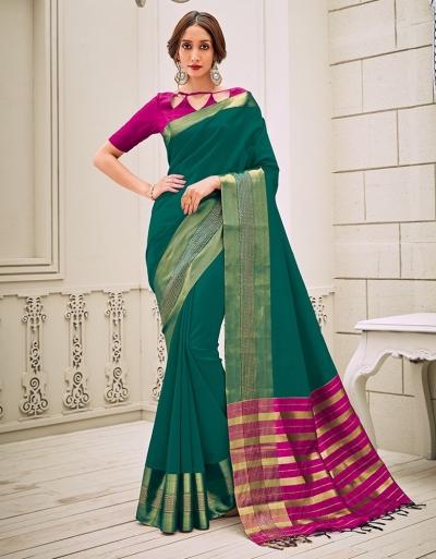 Aamilah Tender Green Festive wear cotton saree