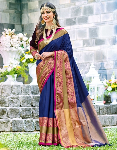 Mishka Sapphire Blue Wedding Wear Cotton Saree