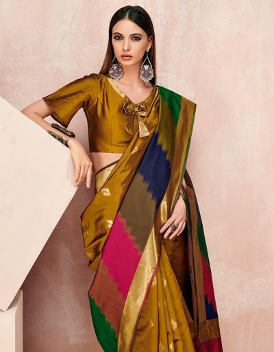 Zoya Mustard Golden Designer Wear Cotton Saree