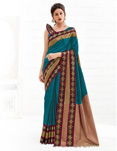 Chaitra Peacock Blue Festive Wear Cotton Saree