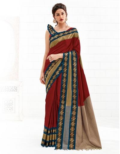 Chaitra Currant Red Festive Wear Cotton Saree
