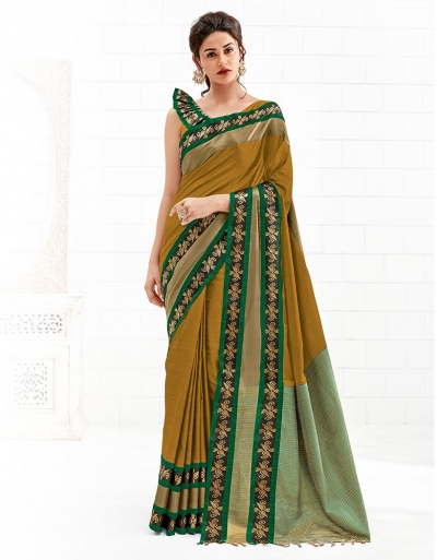 Chaitra Mustard Yellow Festive Wear Cotton Saree