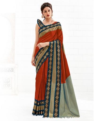 Chaitra Rust Orange Festive Wear Cotton Saree