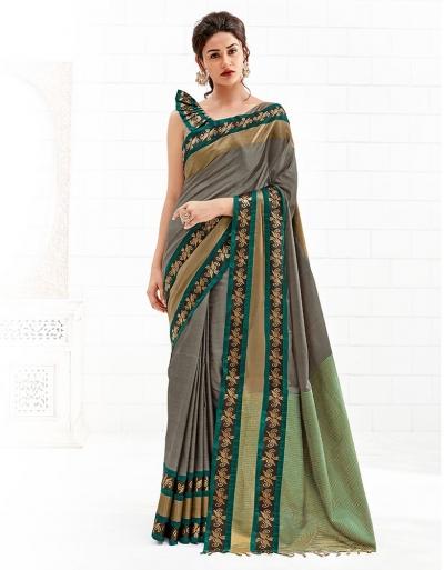 Chaitra Duskin Beige Festive Wear Cotton Saree