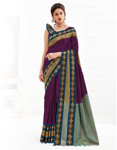 Chaitra Wine Magenta Festive Wear Cotton Saree
