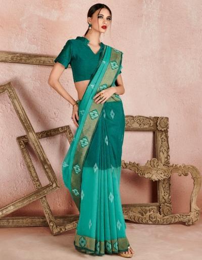 Kaya Azure Green Designer Wear Cotton Saree