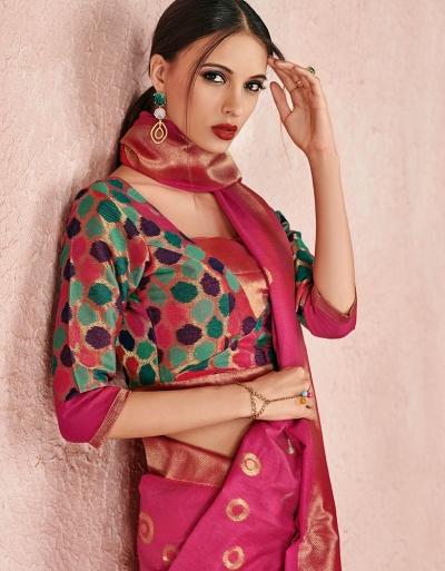 Kaya Fuschia Pink Designer Wear Cotton Saree