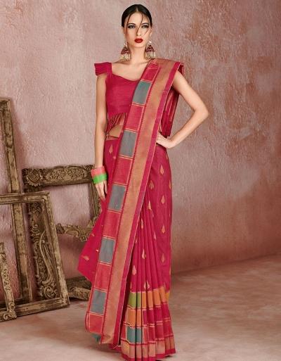 Kaya Jazzy Pink Designer Wear Cotton Saree