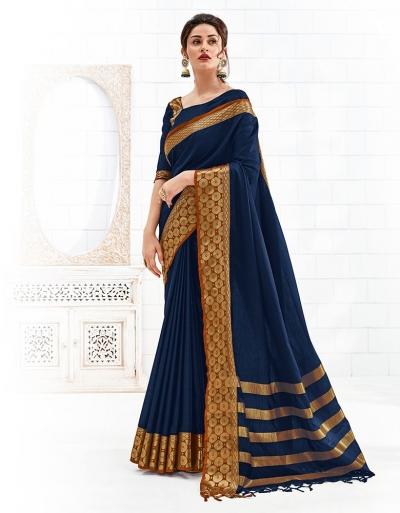 Bavitha Symphony Blue Festive Wear Cotton Saree