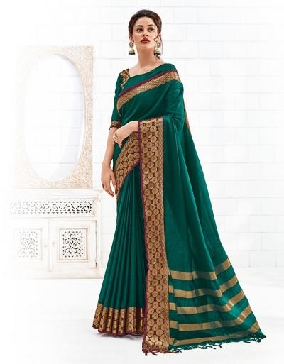 Bavitha Tender Green Festive Wear Cotton Saree