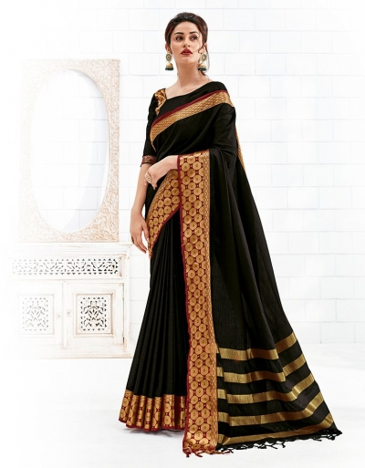 Bavitha Onyx Black Festive Wear Cotton Saree