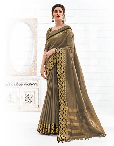 Bavitha Duskin Beige Festive Wear Cotton Saree