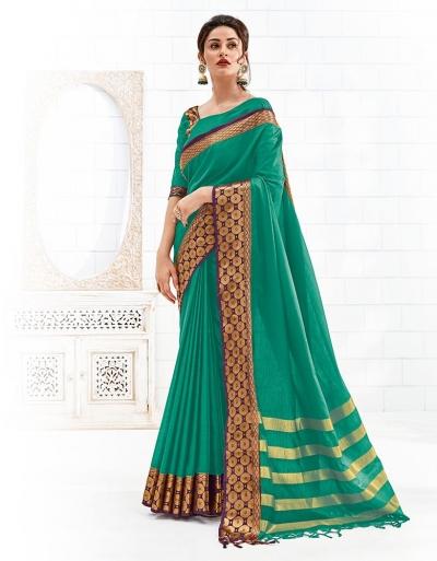 Bavitha Aqua Green Festive Wear Cotton Saree