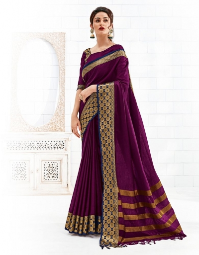 Bavitha Wine Magenta Festive Wear Cotton Saree