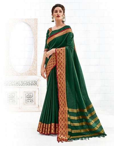 Bavitha Emerald Green Festive Wear Cotton Saree