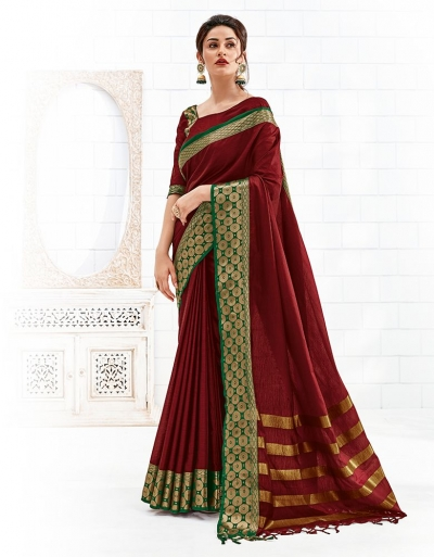 Bavitha Currant Red Festive Wear Cotton Saree