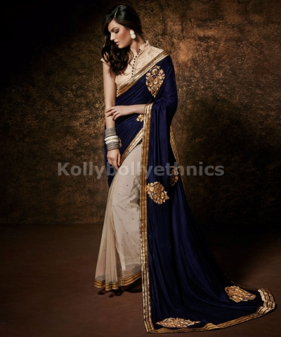 Georgette And Net Saree With Blouse