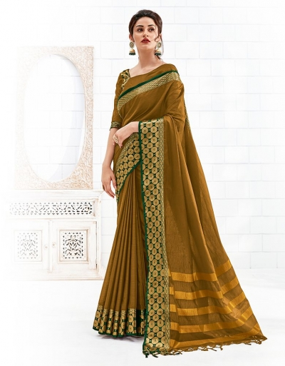 Bavitha Mustard Yellow Festive Wear Cotton Saree