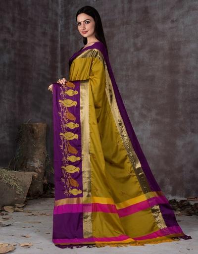 Aangi Pankhi Sunshine Golden Festive Wear Cotton Saree