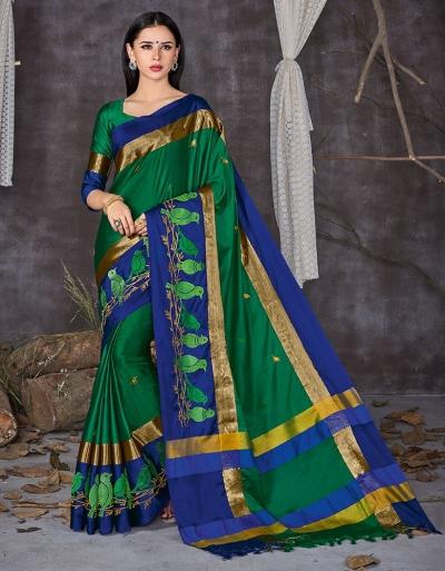 Aangi Pankhi Forest Green Festive Wear Cotton Saree