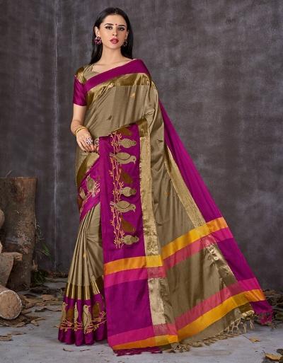 Aangi Pankhi Duskin Beige Festive Wear Cotton Saree