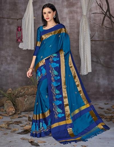 Aangi Pankhi Peacock Blue Festive Wear Cotton Saree