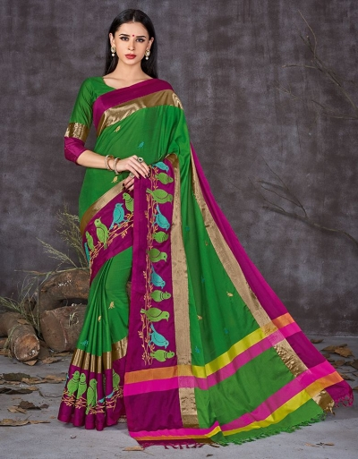 Aangi Pankhi Holy Green Festive Wear Cotton Saree