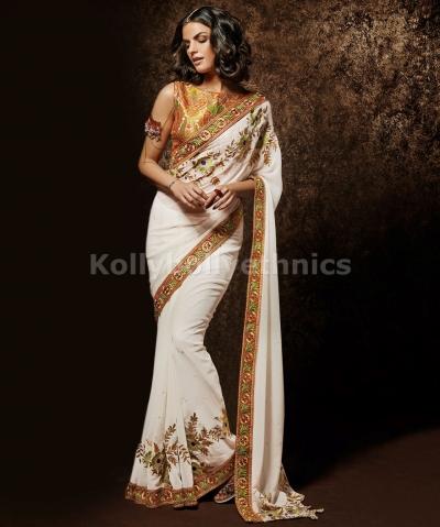 Exclusive white designer wedding saree