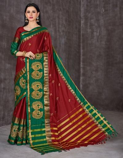 Anaika Mayuri Currant Red Festive Wear Cotton Sarees