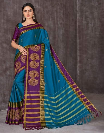 Anaika Mayuri Peacock Blue Festive Wear Cotton Saree