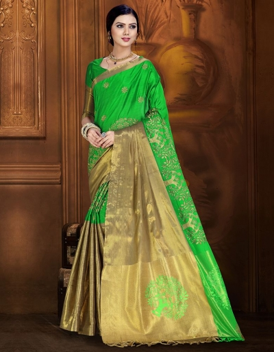 Aryaa Aabha Lush Green Festive Wear Cotton Saree