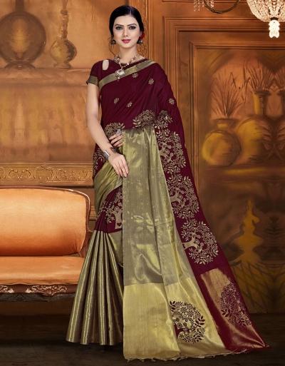 Aryaa Aabha Chocolate Brown Festive Wear Cotton Saree