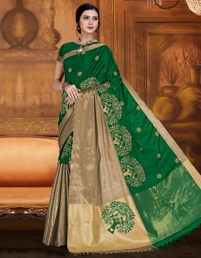 Aryaa Aabha Tender Green Festive Wear Cotton Saree