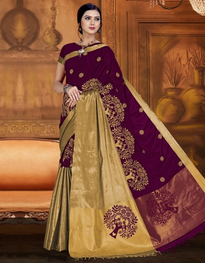Aryaa Aabha Imperial Purple Festive Wear Cotton Saree