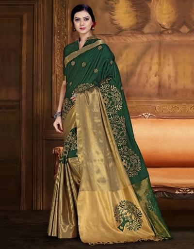 Aryaa Aabha Emerald Green Festive Wear Cotton Saree