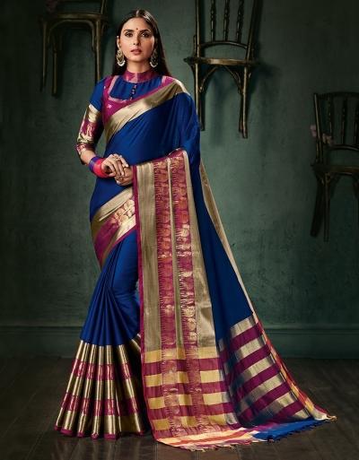 Amani Sapphire Blue Wedding Wear Cotton Saree