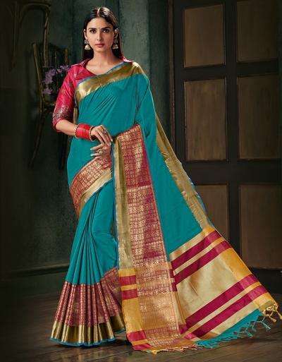 Amani Aqua Blue Wedding Wear Cotton Saree