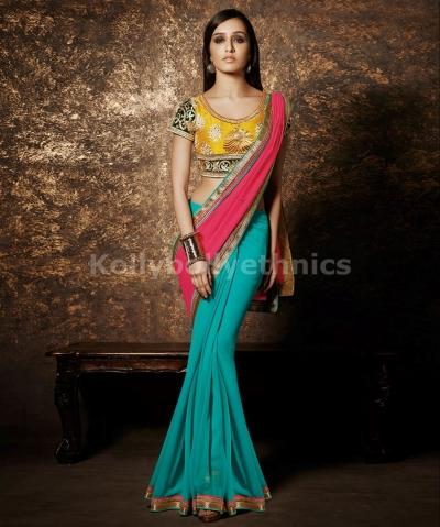 Blue,pink,yellow designer shraddha kapoor saree