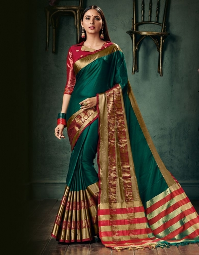 Amani Tender Green Wedding Wear Cotton Saree