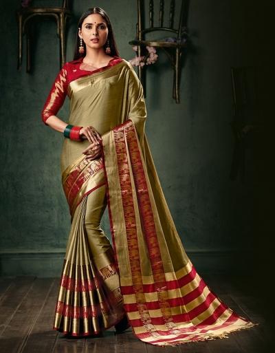 Amani Duskin Beige Wedding Wear Cotton Saree