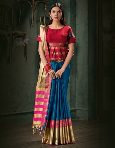 Amani Peacock Blue Wedding Wear Cotton Saree