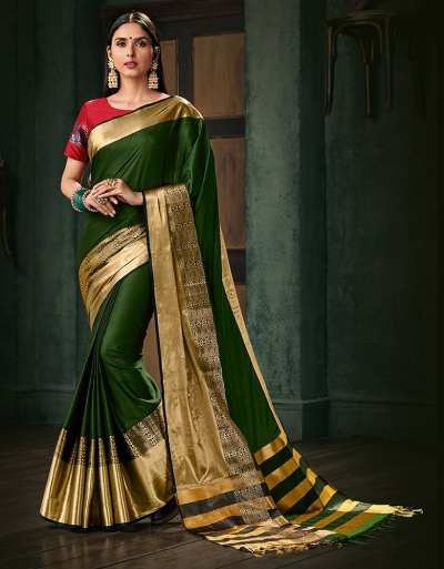 Amani Olive Green Wedding Wear Cotton Saree