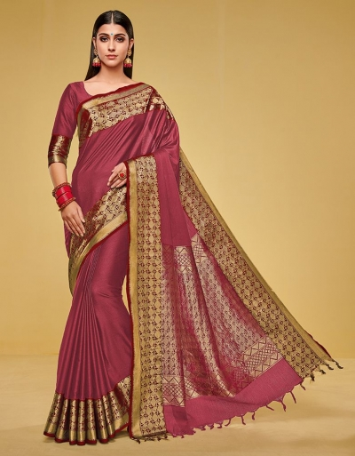 Kanisha Crimson Red Cotton Saree