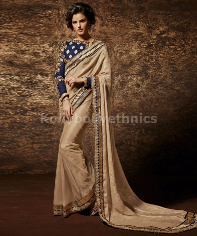 Beige and blue exclusive  wedding saree
