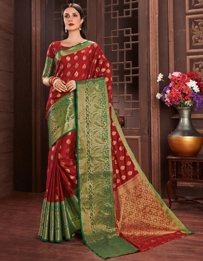 Ziana Current Red Cotton Saree