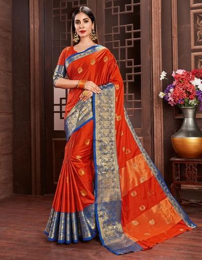 Ashra Tangy Orange Cotton Saree