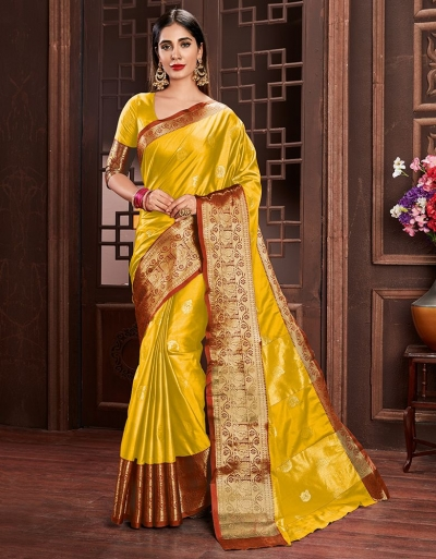 Ashra Sunshine Yellow Cotton Saree