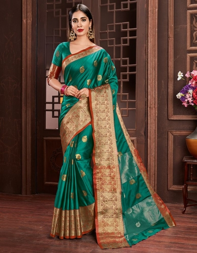 Ashraa Tender Green Cotton Saree