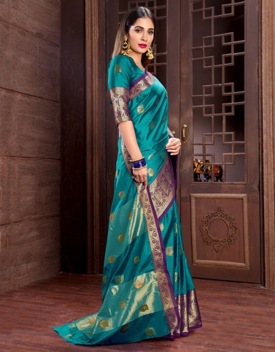 Ashra Azure Green Cotton Saree